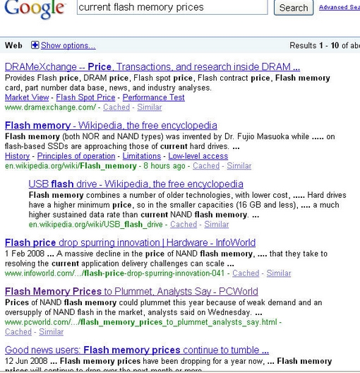 Google Flash Memory Prices
