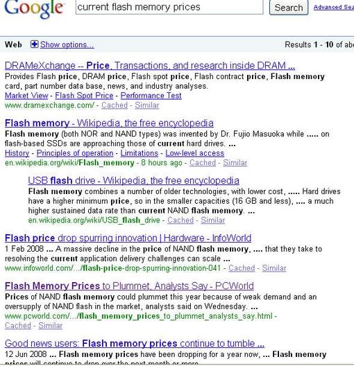Google Flash Memory Prices