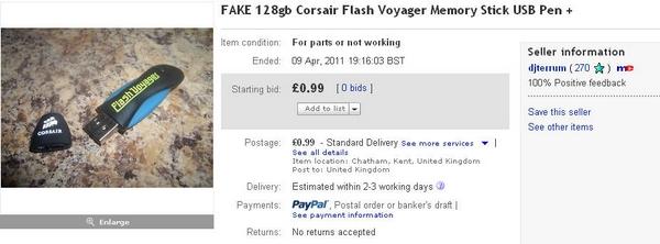 djterrum FAKE 128gb Corsair Flash Voyager Memory Stick USB Pen