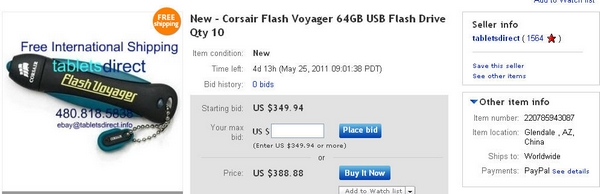 tabletsdirect New - Corsair Flash Voyager 64GB USB Flash Drive Qty 10