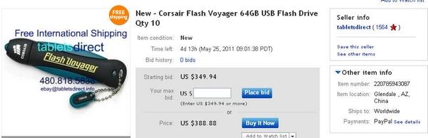 tabletsdirect New - Corsair Flash Voyager 64GB USB Flash Drive Qty 10
