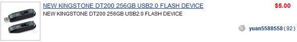NEW KINGSTONE DT200 256GB USB2.0 FLASH DEVICE $5