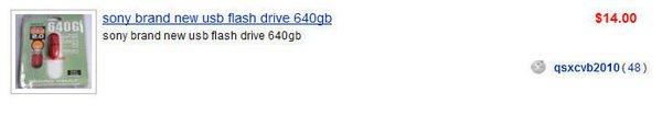 sony brand usb flash drive 640gb